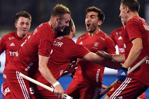 English players celebrate after scoring a goal