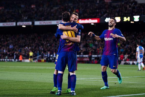 FC Barcelona superstars - Lionel Messi, Jordi Alba, and Luis Suarez