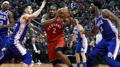Kawhi in action for Toronto Raptors v Philadelphia 76ers