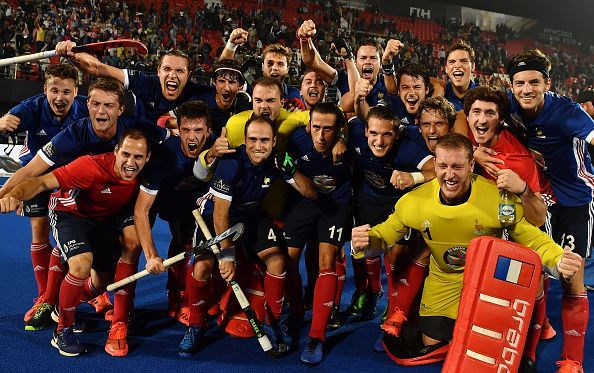 The jubilant bunch of French players after their win against Argentina