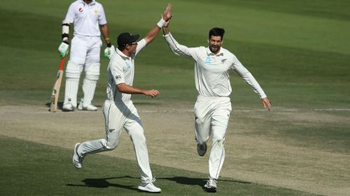 William Somerville and Tim Southee celebrate for New Zealand