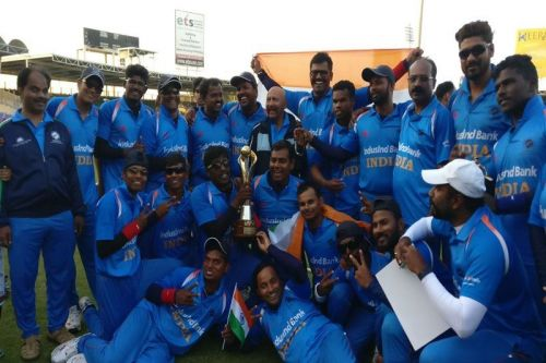 The Indian team after winning the Blind Cricket World Cup 2018