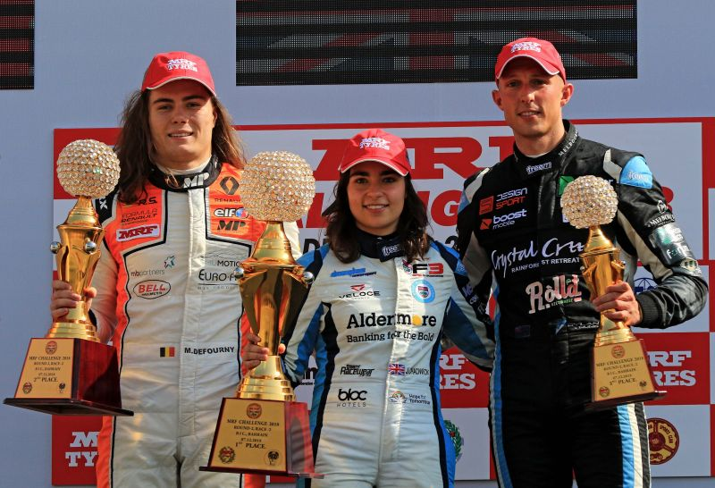 L-R Max Defourny, Jamie Chadwick & Dylan Young