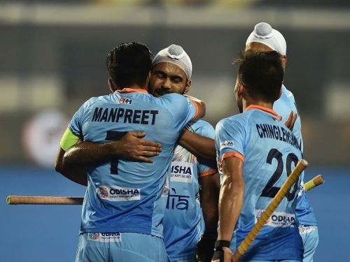 Indian players celebrating a goal against Belgium