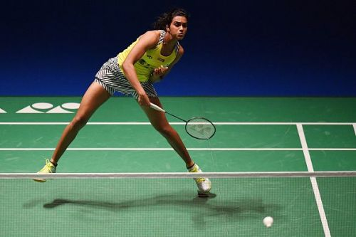 PV Sindhu in action at the Japan Open