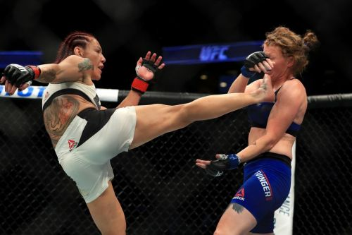 Cyborg catches Evinger with a huge head kick