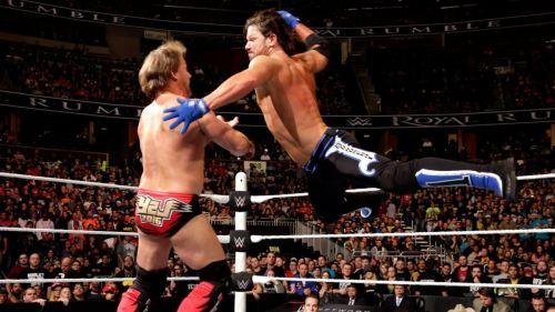Chris Jericho and AJ Styles at the 2016 Royal Rumble