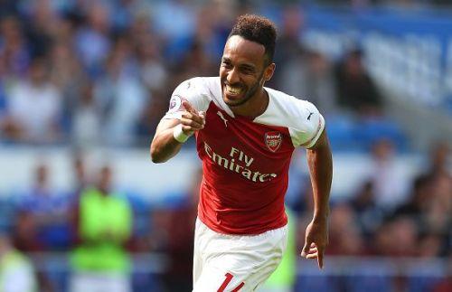 Aubameyang is the top goalscorer (13) in the Premier League this season, with Salah (12) on second