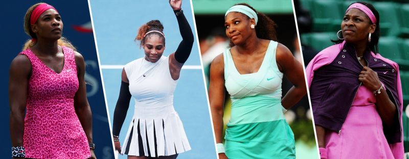 The variety of outfits donned by Serena Williams o