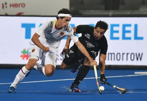 Action from the Spain v New Zealand match in the 2018 Men's Hockey World Cup