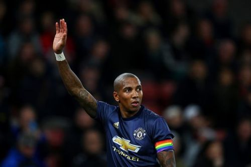 Ashley Young captaining the United side against Southampton