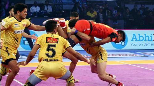 Telugu Titans' defence managed 10 tackle points tonight