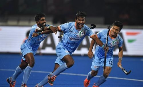 Odisha player Amit Rohidas scores India's fourth goal on his home ground against Canada in FIH Men's Hockey World Cup 2018