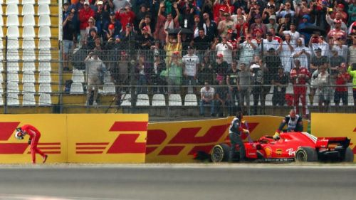 Vettel in agony after crashing out of the lead in Germany