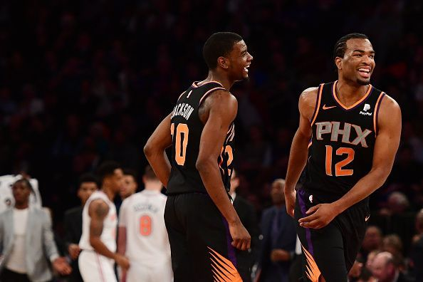 8523bc6922c Phoenix Suns players during their recent 128-110 win over the New York  Knicks