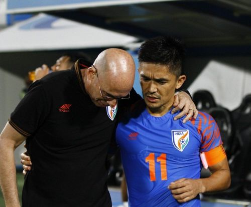 According to a report, Sunil Chhetri (right) sought the removal of head coach Stephen Constantine