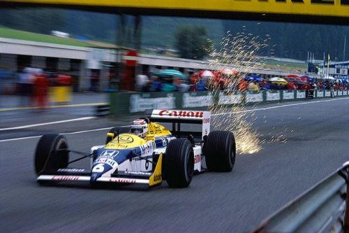 Williams powered by a turbo engine with sparks flying off