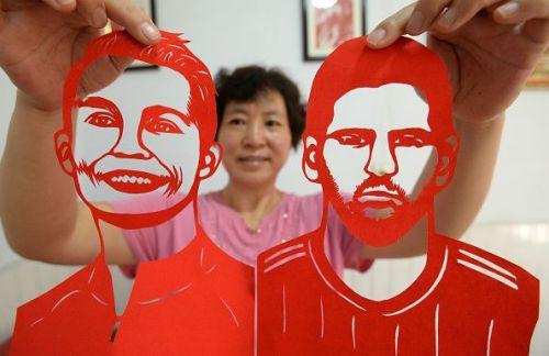 Folk Artist Makes Paper-cut Work For 2018 FIFA World Cup In Handan