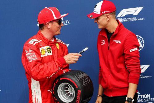 Mick Schumacher with Ferrari's last World Champion Kimi Raikkonen at Monza, Italy 2018