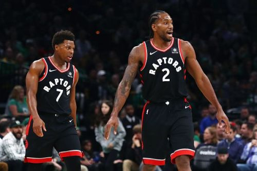 Kawhi Leonard (number 2) finished one point shy of his season high