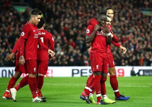 Sadio Mane celebrates his goal