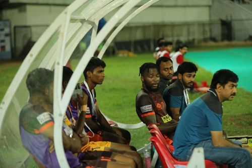 Antonio German arguing with coach Bino George (not in pic) after being substituted during the game against Chennai City