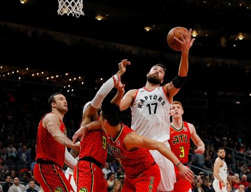 Valanciunas, pictured here against the Hawks, scored 26 points on 9-of-13 shooting from the bench