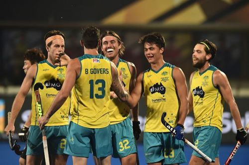 Australian players are all smiles during the game against China