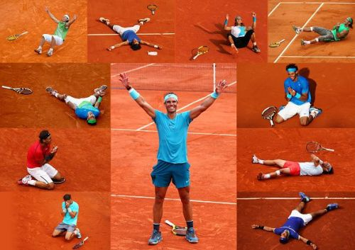 A montage of all 11 of Rafael Nadal's French Open conquests