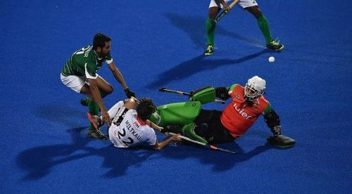 Action from Germany v Pakistan match at the Men's Hockey World Cup 2018