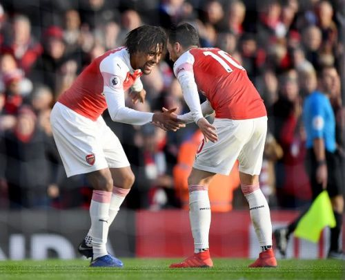 Iwobi celebrated his goal with Ozil