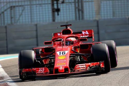 Leclerc driving Ferrari's SF71H at the postseason test in Abu Dhabi