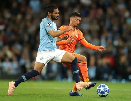 Aouar (R) impressed in both outings against City in the Champions League