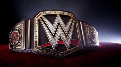 This is the WWE Championship, not a simple leather belt, but covered in jewels