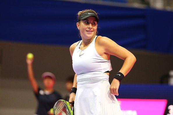 Belinda Bencic in competition at the Toray Pan Pacific Open