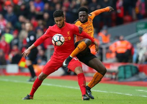 Joe Gomez battling for possession during last year's Fourth Round tie at Anfield
