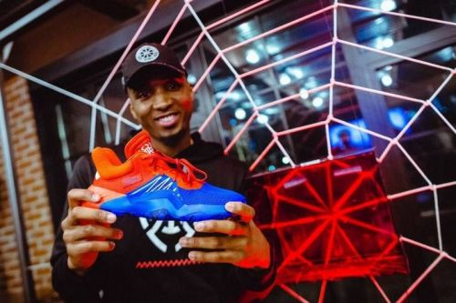 Donovan Mitchell during unveiling of his debut signature shoe