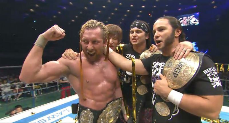 Kenny Omega along with fellow Elite members (formerly Bullet Club) the Young Bucks