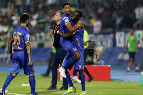 Mumbai players celebrate the team's second goal on the night [Image: ISL]