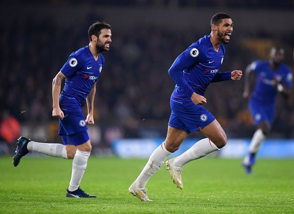 Loftus-Cheek celebrating his goal against Wolves on Wednesday - he now has six (all comps) since October