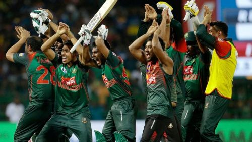 The Bangladesh team doing their infamous Nagin dance