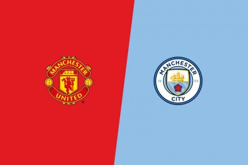 The crests of Manchester United and Manchester City