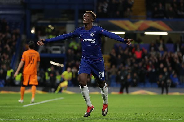 Hudson-Odoi celebrates his first senior Chelsea goal during their 4-0 Europa League win over PAOK