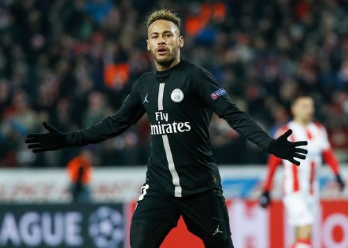 Neymar celebrates during the Red Star Belgrade v Paris Saint-Germain - UEFA Champions League Group C match