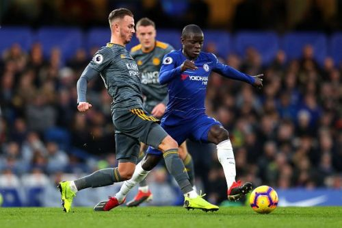 Chelsea's Ngolo Kante in action vs. Leicester City