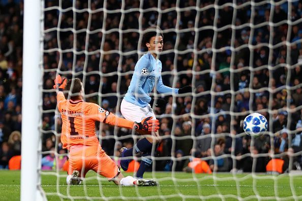 Sane's touch deceived Baumann and allowed him a simple finish to provide City a slender lead