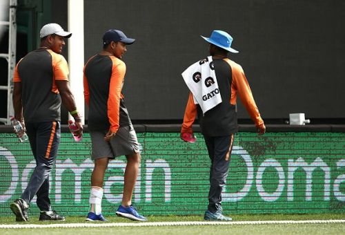 The Mumbai teenager was seen wearing a protective brace on his left ankle while jogging around the Adelaide Oval on Monday