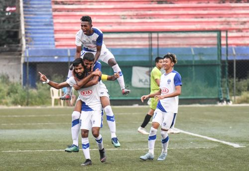 Myron Mendes of Bengaluru FC celebrates after scoring against ASC & Centre