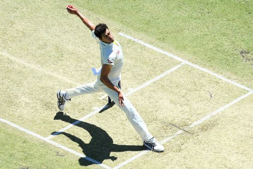 Australian paceman Mitchell Starc in his stride ready to launch a delivery