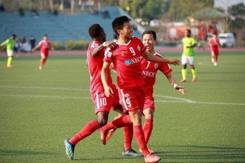 Mapuia of Aizawl FC celebrates after scoring against Gokulam Kerala during their I-League match